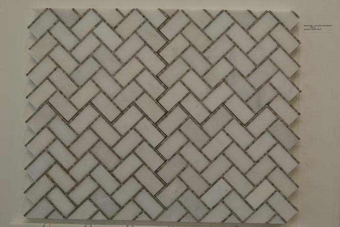 White Jade + Grey Brd Herringbone 12x12 WJGRY-HERR-MHP