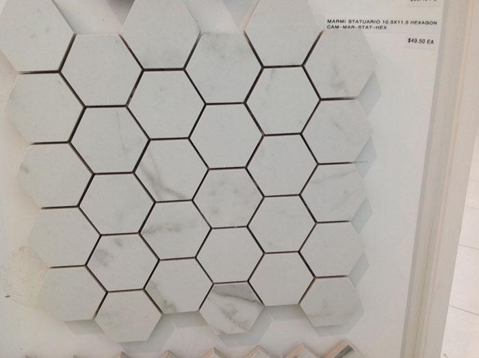 Marmi Statuario 10.5 x 11.5 Hexagon CAM-MAR-STAT-HEX