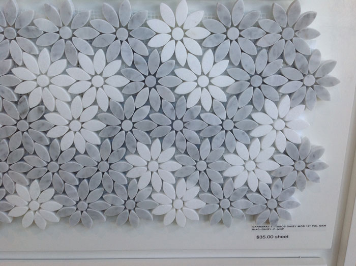 Carrara + Thassos Daisy Moasaic 12x12 Polished Marble BIAC-DAISY-P-MHP
